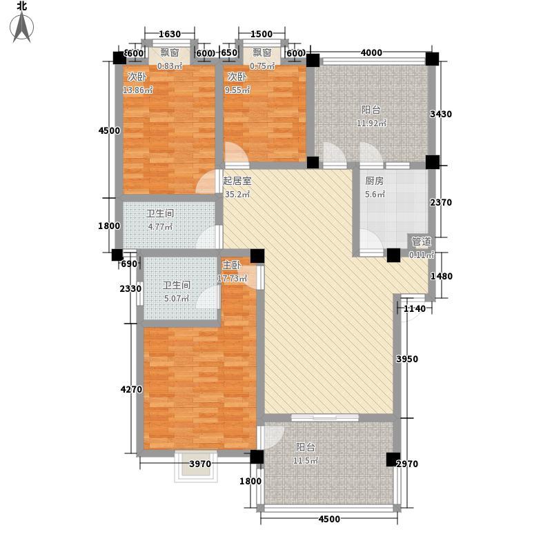 双楠融域125.63㎡户型3室2厅2卫1厨