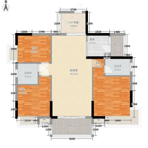 康怡花园4期3室0厅2卫1厨119.00㎡户型图
