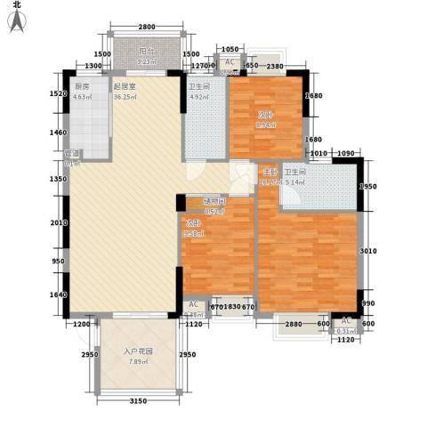 康怡花园4期3室0厅2卫1厨122.00㎡户型图