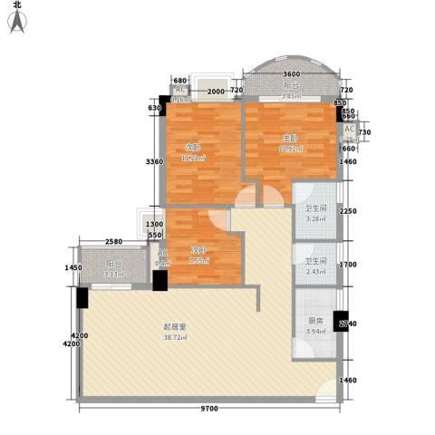 君怡大厦3室0厅2卫1厨121.00㎡户型图