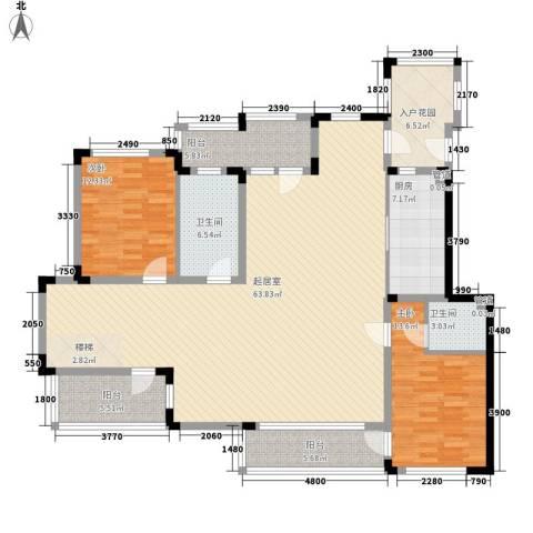 荣盛香缇澜山2室0厅2卫1厨130.11㎡户型图