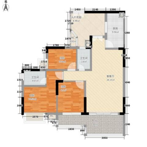 宏新华庭3室1厅2卫1厨119.00㎡户型图