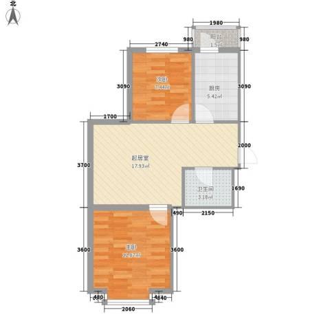 泰华林庄园2室0厅1卫1厨67.00㎡户型图