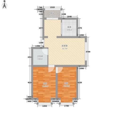 泰华林庄园2室0厅1卫1厨79.00㎡户型图