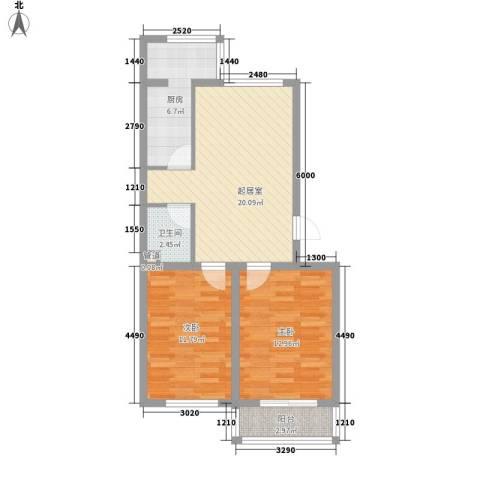 俪华精舍2室0厅1卫1厨75.00㎡户型图