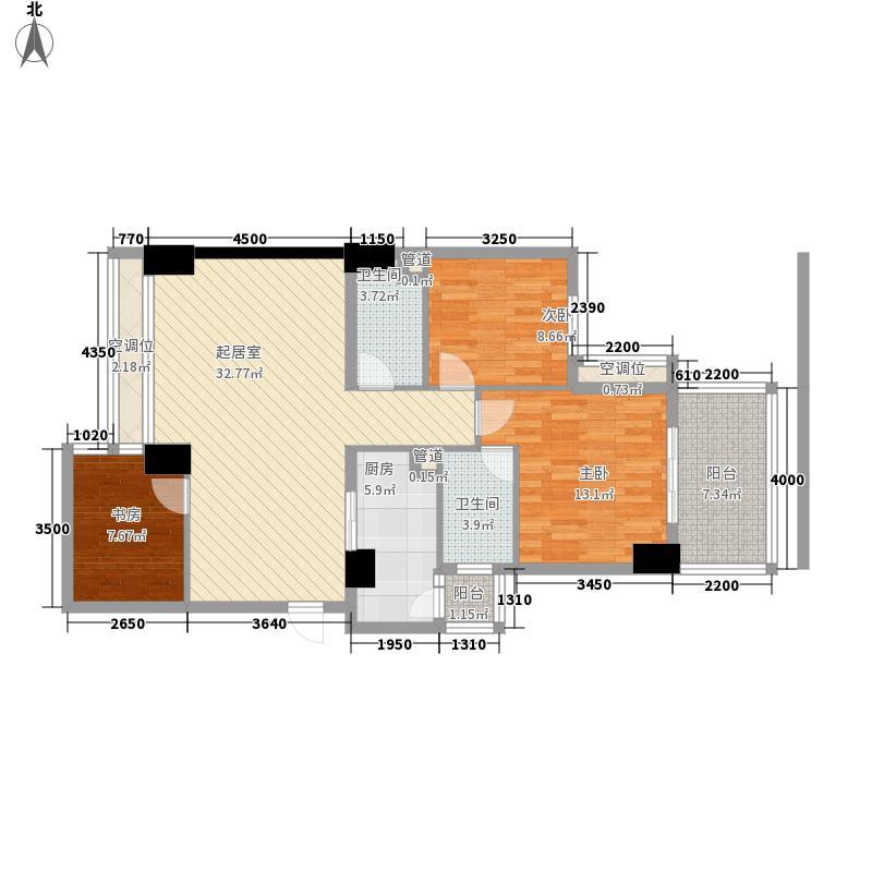 建川黉门公馆108.12㎡E型奇数层户型3室2厅2卫1厨