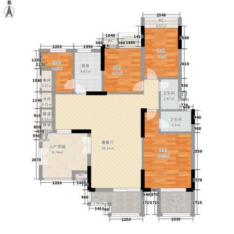 宏新华庭4室1厅2卫1厨136.00㎡户型图