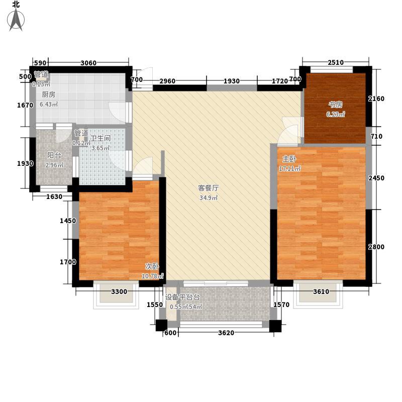 恒盛豪庭119.89㎡恒盛豪庭户型图K2户型3室2厅1卫1厨户型3室2厅1卫1厨