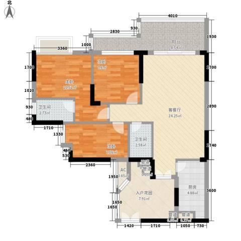 宏新华庭3室1厅2卫1厨113.00㎡户型图