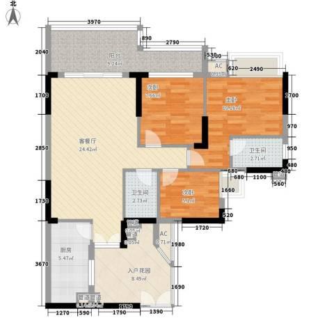 宏新华庭3室1厅2卫1厨112.00㎡户型图