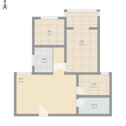 百家乐园3室1厅1卫1厨97.00㎡户型图