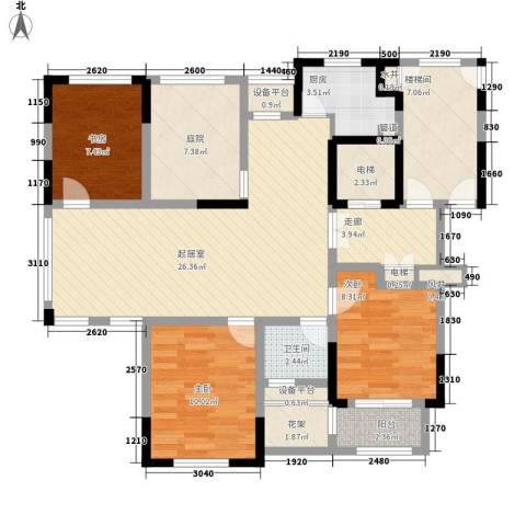 金色城邦3室0厅1卫1厨126.00㎡户型图