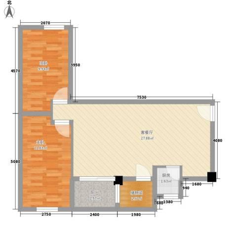 华丽楼2室1厅0卫1厨65.00㎡户型图