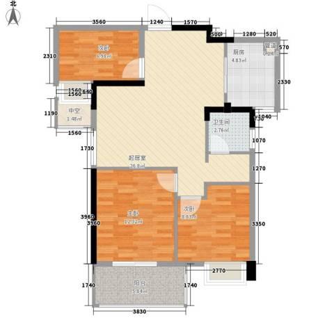 华邦世贸城3室0厅1卫1厨93.00㎡户型图