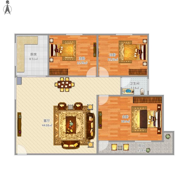 新莲岳里一梯三户85平三房厅朝西
