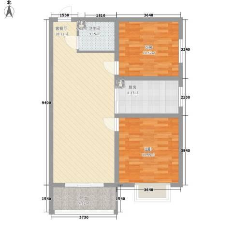 汇元京品2室1厅1卫1厨65.46㎡户型图
