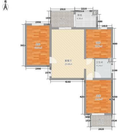 汇元京品3室1厅1卫1厨112.00㎡户型图