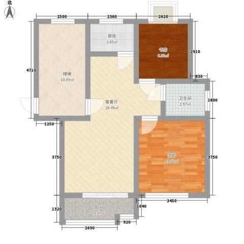 美岸青城幸福里2室1厅1卫1厨85.00㎡户型图