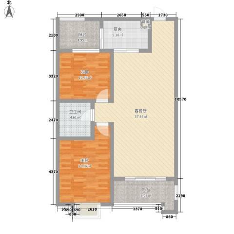 锦林山庄2室1厅1卫1厨121.00㎡户型图
