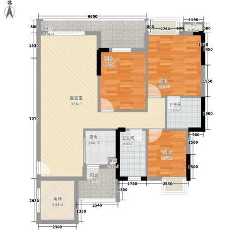 乐然水畔3室0厅2卫1厨89.22㎡户型图
