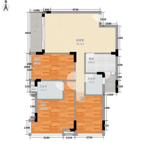 金地格林小城二期3室0厅2卫1厨110.00㎡户型图