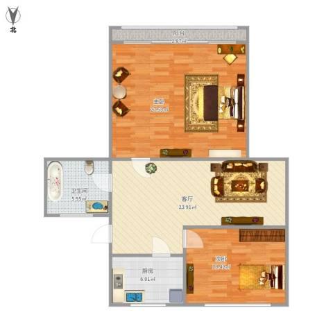 真光七街坊2室1厅1卫1厨107.00㎡户型图