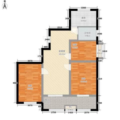 绿润名都3室0厅1卫1厨112.00㎡户型图