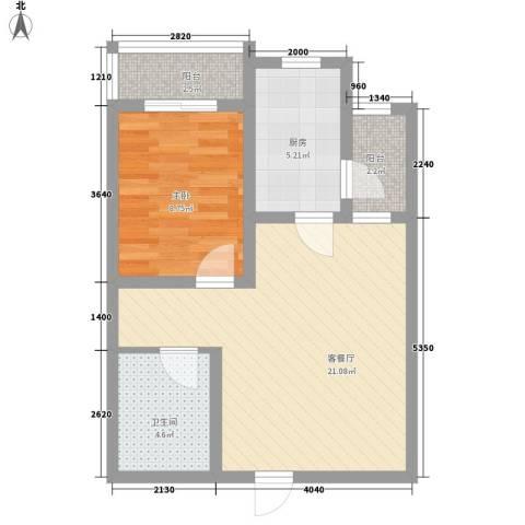 西江月1室1厅1卫1厨59.00㎡户型图