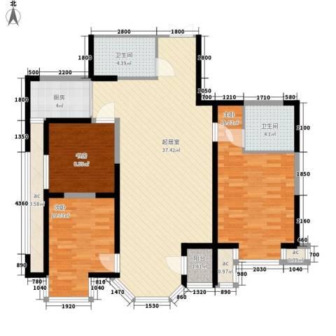 东方名都二期3室0厅2卫1厨131.00㎡户型图