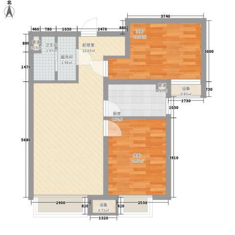 潮白河孔雀英国宫2室0厅1卫1厨62.96㎡户型图