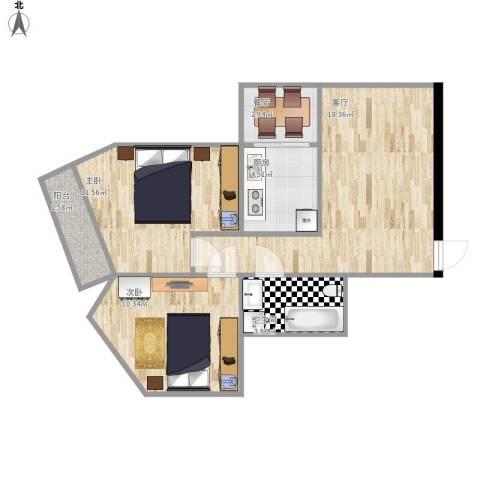 惠新西街33号院2室2厅1卫1厨74.00㎡户型图