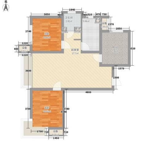 潮白河孔雀英国宫2室0厅1卫1厨74.84㎡户型图
