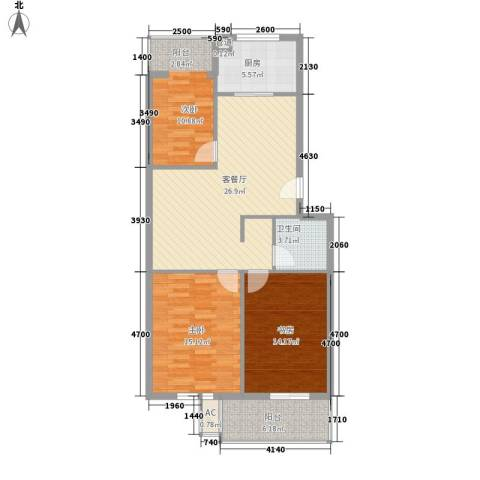 汇隆花园3室1厅1卫1厨153.00㎡户型图