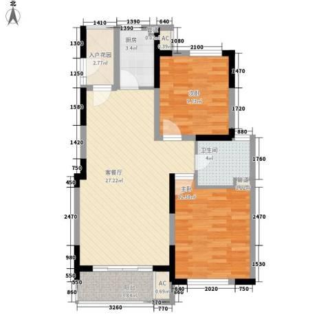 凯运天地2室1厅1卫1厨93.00㎡户型图
