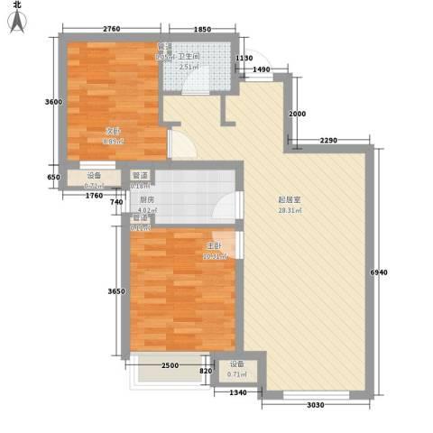 潮白河孔雀英国宫2室0厅1卫1厨64.67㎡户型图