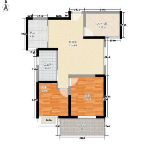 华邦世贸城2室0厅1卫1厨84.00㎡户型图