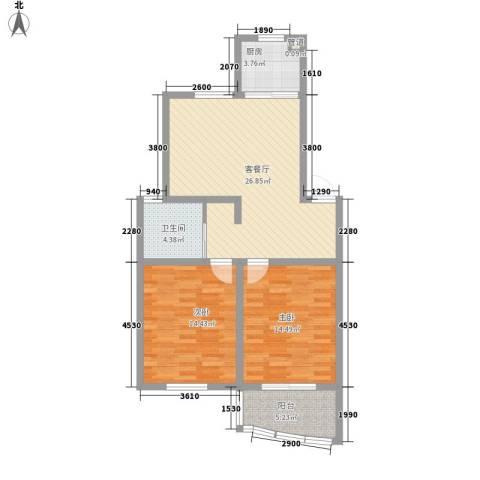 华强阳光新城2室1厅1卫1厨82.00㎡户型图