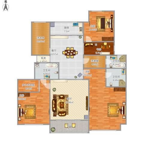 荣盛华府4室2厅3卫1厨237.00㎡户型图