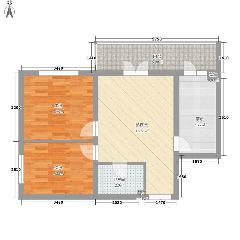 东建金凯国际57.91㎡A栋2单元5号户型2室1厅1卫1厨