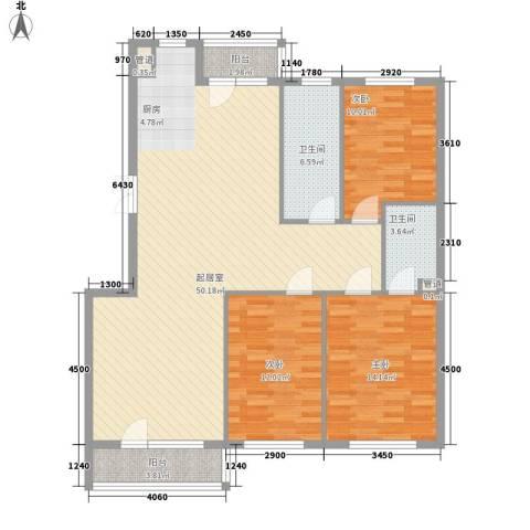 青果公寓3室0厅2卫0厨143.00㎡户型图