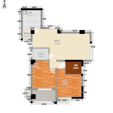 永鸿御景湾3室1厅1卫1厨97.00㎡户型图