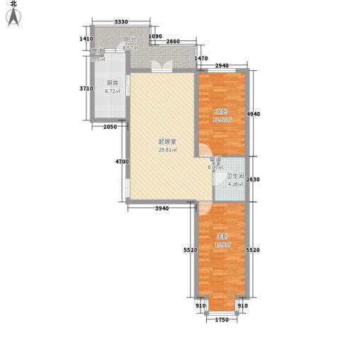 东建金凯国际2室0厅1卫1厨88.00㎡户型图
