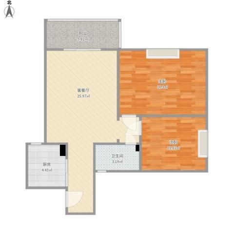 西安学林雅苑2室1厅1卫1厨89.00㎡户型图