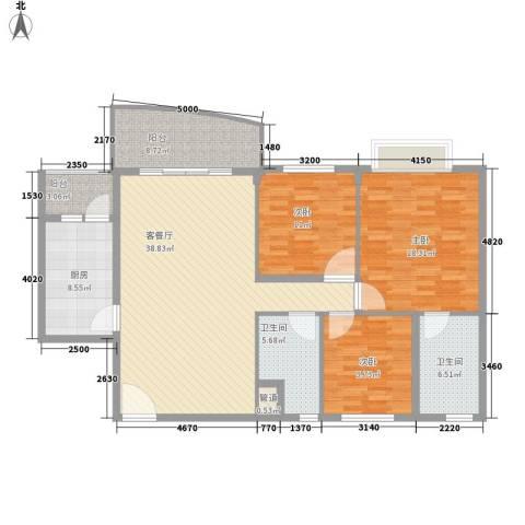东城中心六期3室1厅2卫1厨155.00㎡户型图