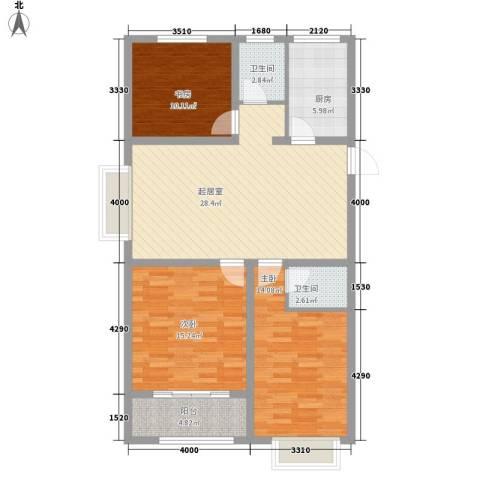 海源丽都3室0厅2卫1厨84.08㎡户型图