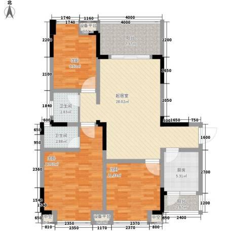 阳光城3室0厅2卫1厨88.25㎡户型图