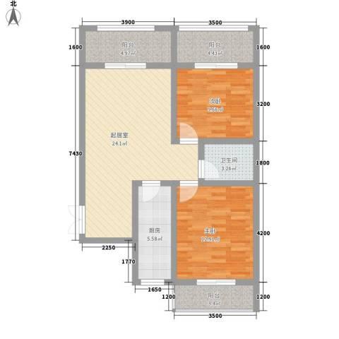 尚品格蓝2室0厅1卫1厨90.00㎡户型图