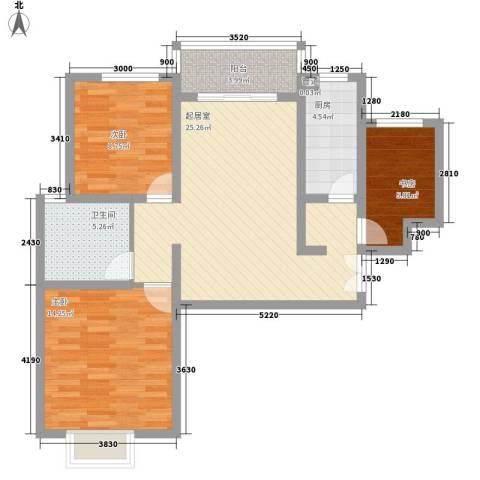 金色花语城3室0厅1卫1厨98.00㎡户型图