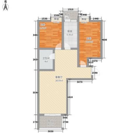 西江月2室1厅1卫1厨97.00㎡户型图