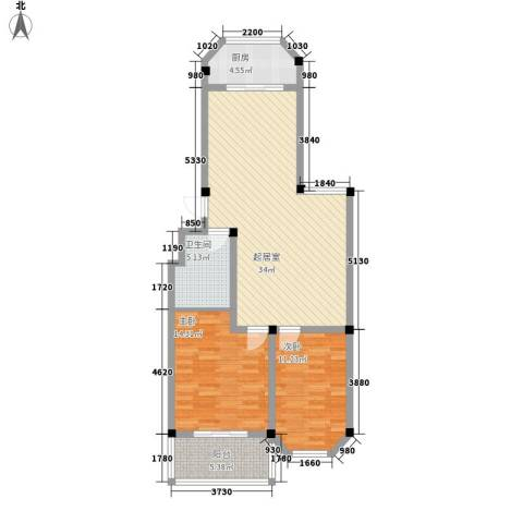 龙岱花园2室0厅1卫1厨107.00㎡户型图